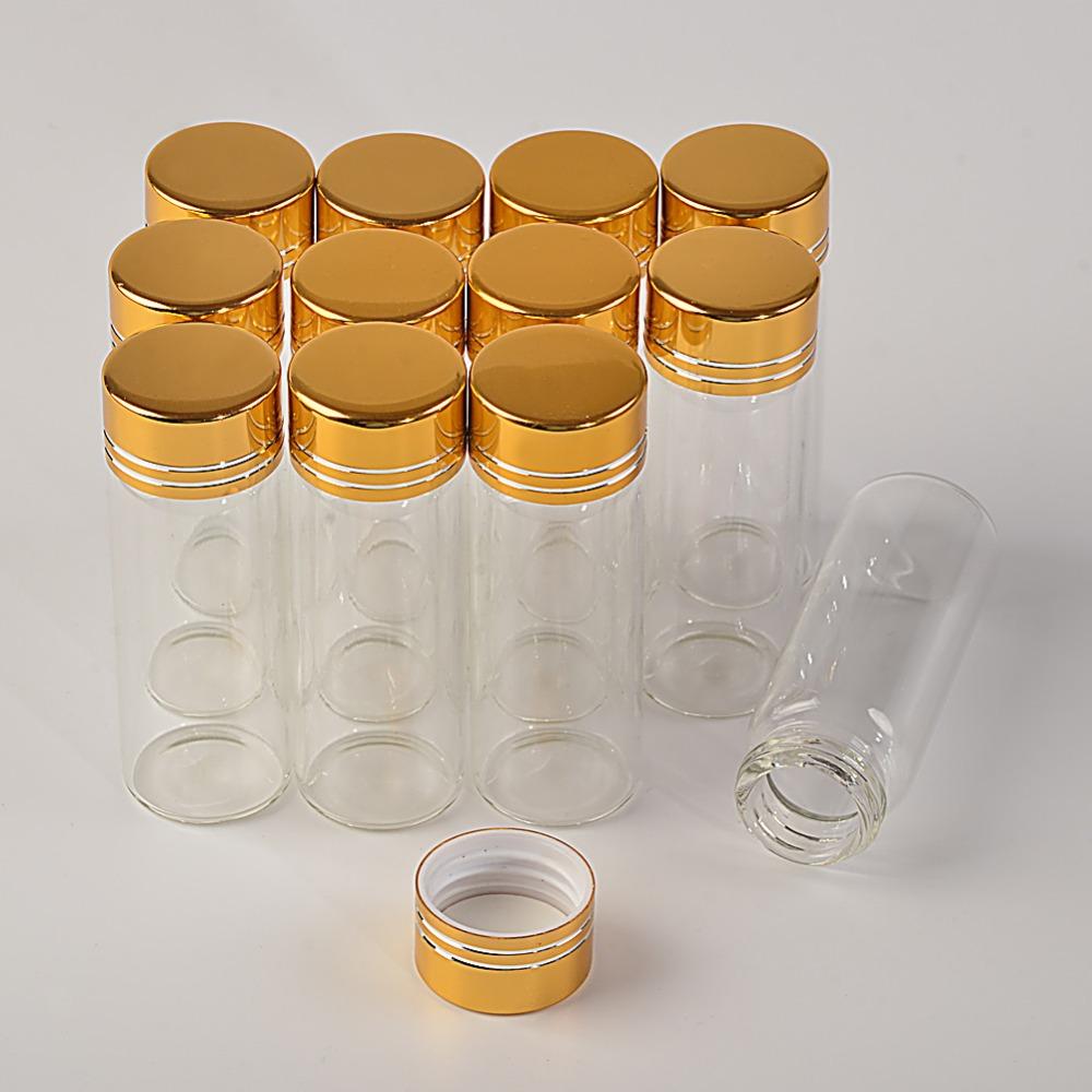 14ml Mini Glass Bottles Aluminium Screw Golden Cap Transparent Clear Liquid Gift Container Wishing Bottle Wedding Jars4