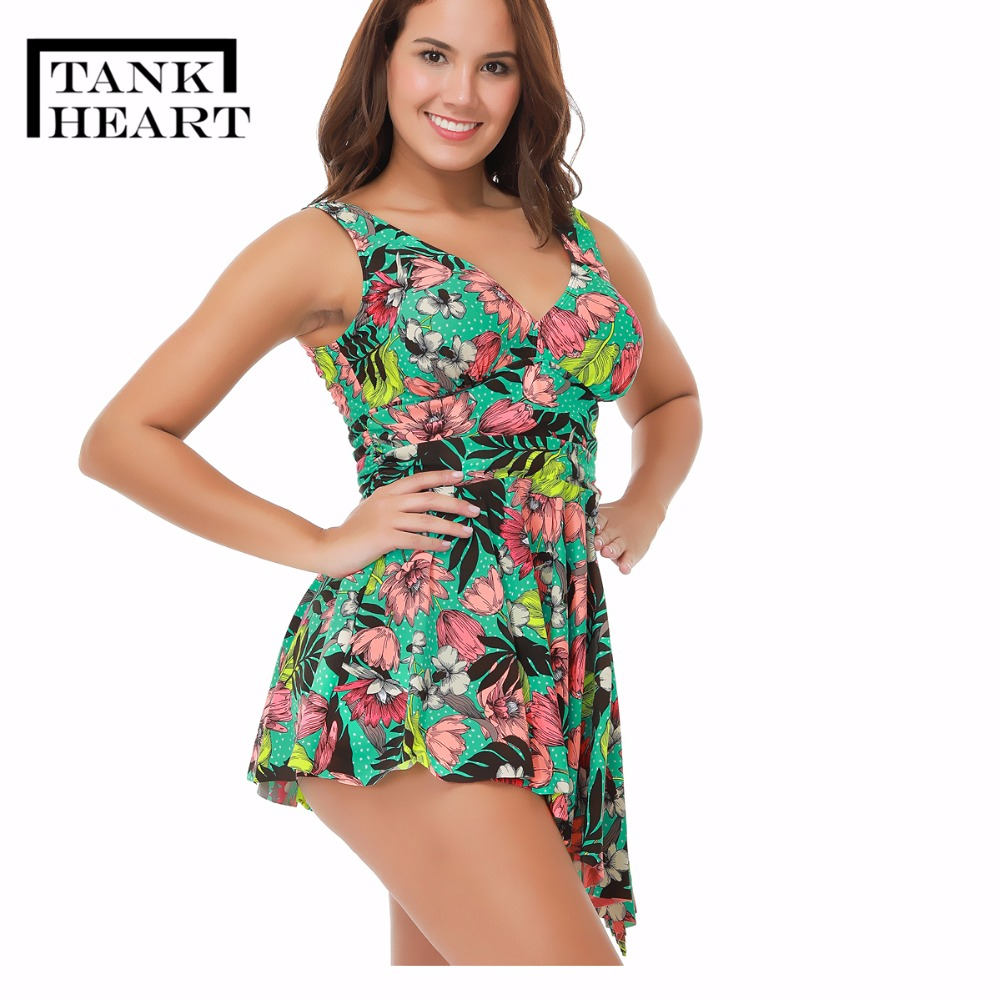 8b4dbca76c769 Tank Hear Sexy Print Two Piece Swimsuit girl bikini Set Swimwear Women Tankini  Plus Size badpak Swim Dress floral girls suit 4XL