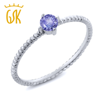 0 18 Ct Round Blue Tanzanite 10K White Gold Engagement Solitaire Ring