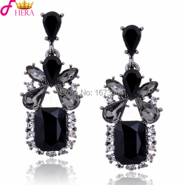 Austrian Crystal Earrings Luxury Jewelry For Women Trandy Drop Black Gem With Cz Earring 2017 Valentine S Day Gift E080 In From