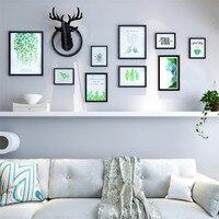 Черный, белый цвет дерева рамки для фотографий зеленые листья Фоторамка Коллаж фоторамка стены фото Винтаж фоторамки кадровый буа