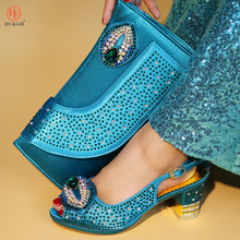 Novo Azul Royal Sapatos de Design Italiano e Saco Para Combinar Sapatos e Saco de Set Para A Festa de Africano Nigeriano Da Forma Das Mulheres sapatos e Bolsa