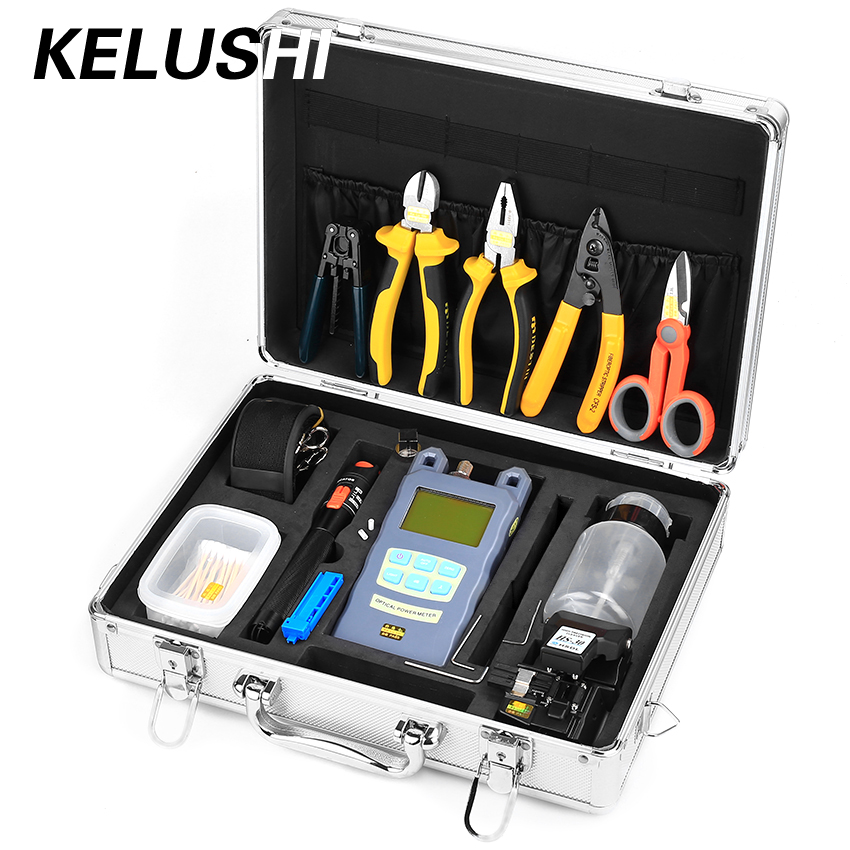 KELUSHI 25pcs Fiber Optic FTTH Tool Kit With HS-30 Fiber Cleaver And 10mW Visual Fault Locator Power Meter Fiber Stripping Tool