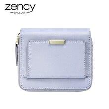 Zency, светильник из натуральной кожи, любимый женский короткий кошелек, простой кошелек с карманом для монет, держатель для фото карт, черный, розовый