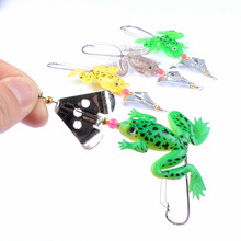 1Pcs 8cm/6.2g Soft Frog Fishing Lure Anti-Hanging Metal Spinner Frog Baits Artificial Isca Wobblers Tackle For Outdoor Fishing 1pcs soft rubber frog fishing lure bass crankbait 3d eye simulation frog spinner spoon bait 8cm 6g fishing tackle accessories