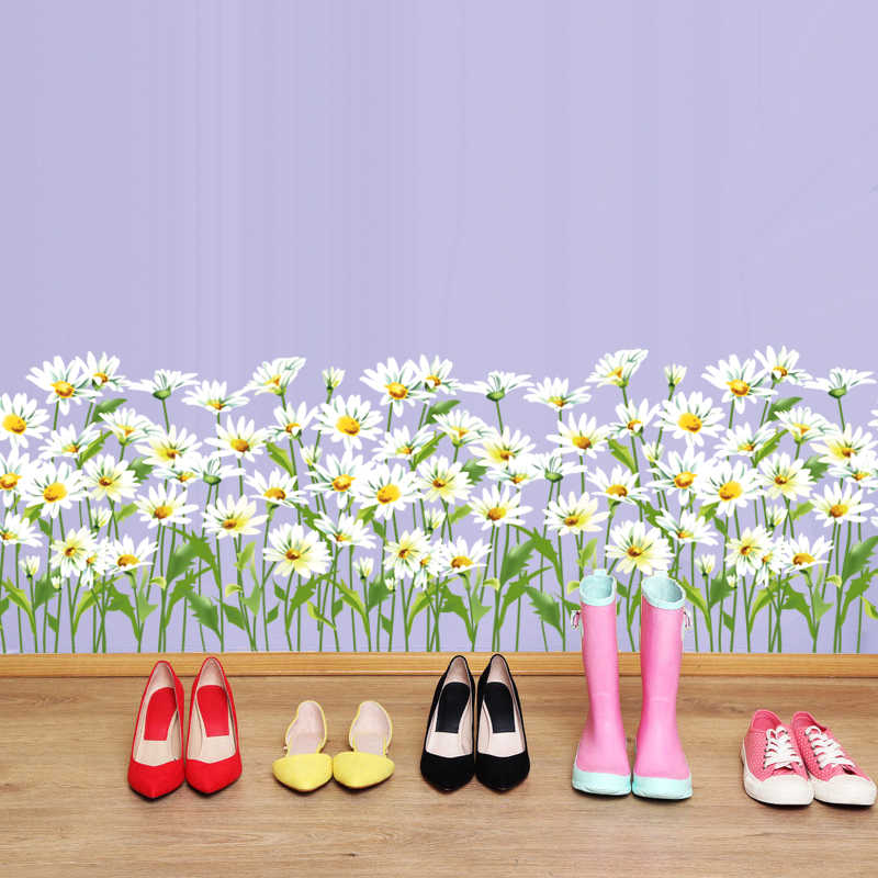 high quality grass baseboard stickers flower children small pvc removable stickers