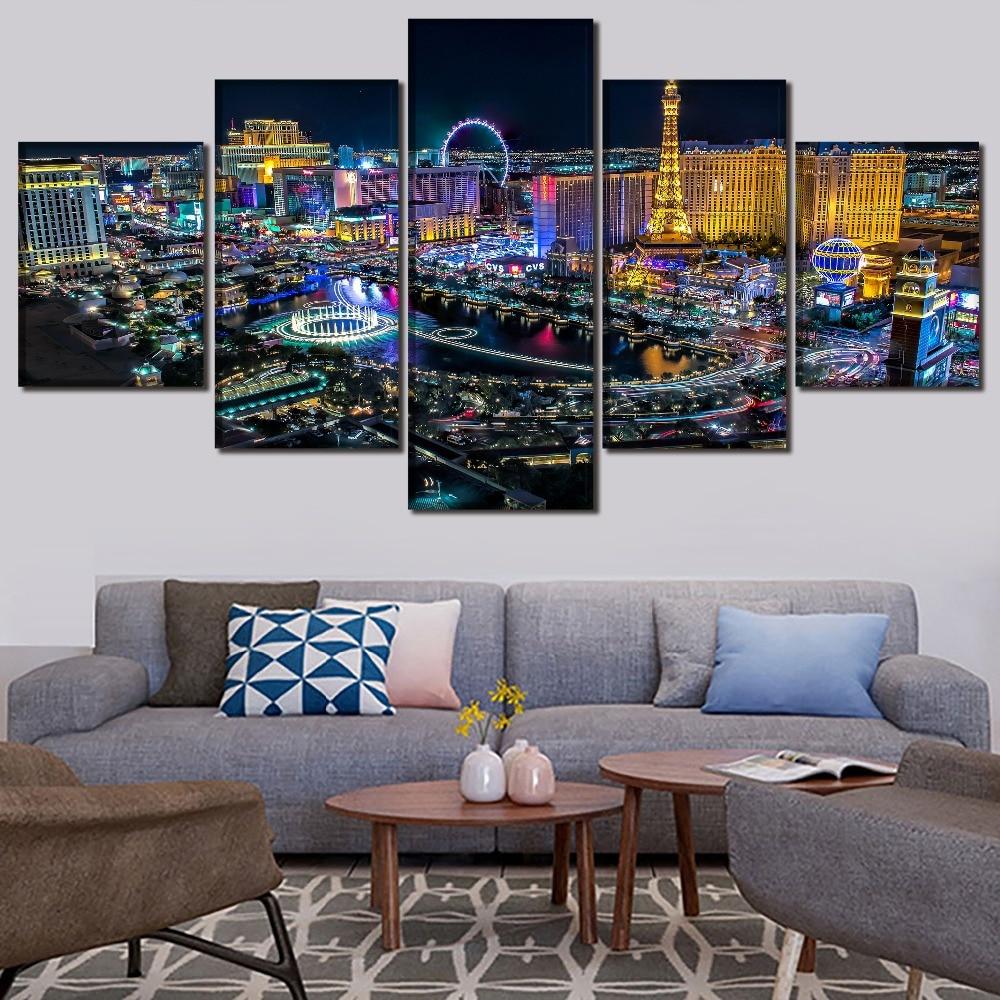 5 peças Las Vegas Cidade Pinturas de Paisagem Da Lona Imprime HD Modular Fotos Da Parede Da Arte Início Decorativa Poster Arte Moderna