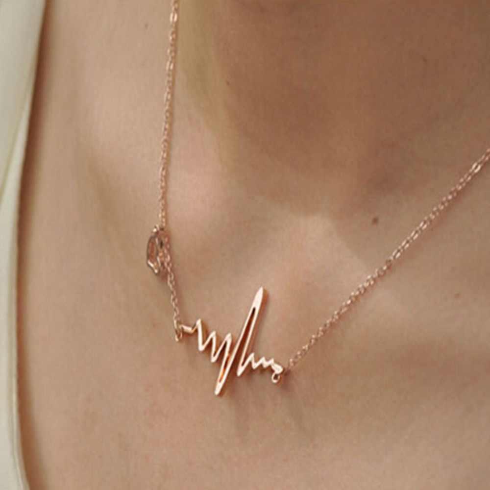 Charming Jewelry Heatbeat Điện Tâm Đồ Pendant Necklace Xương Đòn Chain Màu Silver Gold màu NL-0827