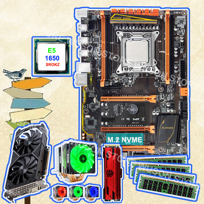 HUANAN ZHI Deluxe X79 Motherboard With M.2 240G NVME SSD 2280 Intel Xeon E5 1650 C2 With Cooler 4*8G DDR3 1600 RECC GTX1050Ti 4G