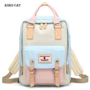 Image 1 - Junior High School Student Canvas Backpack Multi color Teenager Ladies Travel Rucksack Fashion Girls Bookbag Mochila Feminina