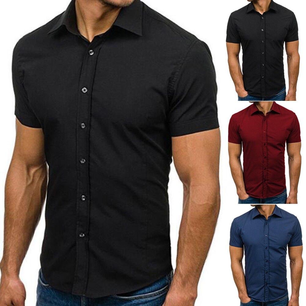 Large Size Men Men's Short Sleeve Casual Shirts Summer Solid Business Shirt Turn-down Collar Tuxedo Shirts S-3XL