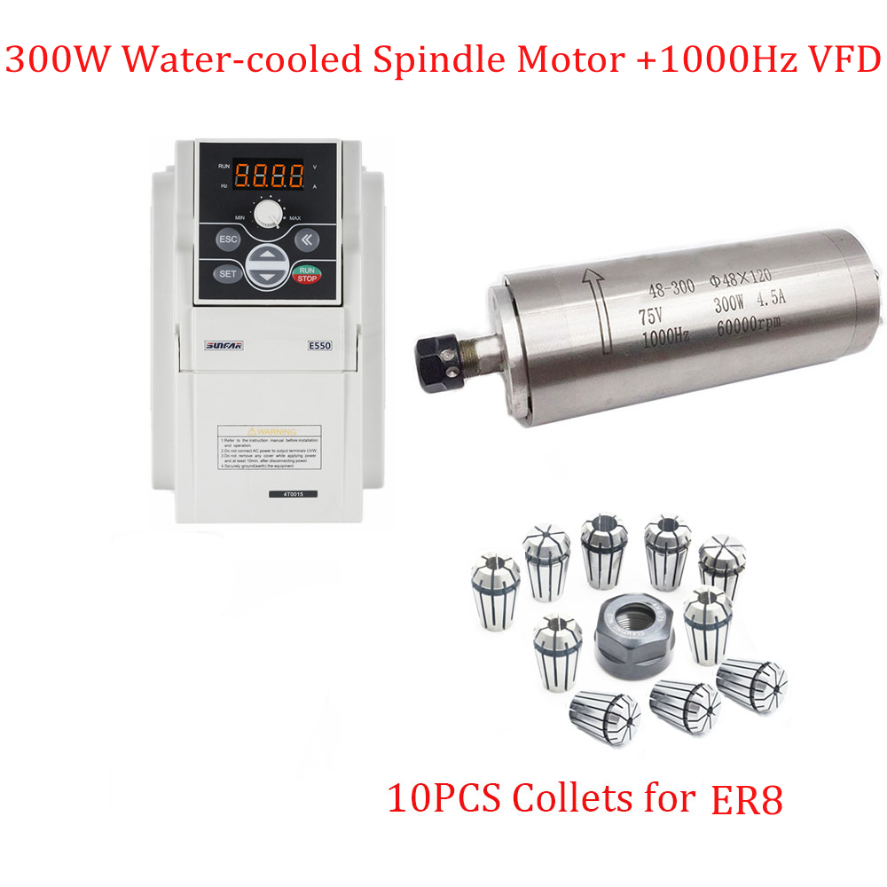 CNC Spindle Kit 300W 60000rpm Water cooled Electric Spindle Motor 400w VFD Inverter 10pcs ER8 Collects