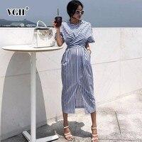 VGH лето для женщин короткий рукав уличное платье О образным вырезом полосатый прямой повязку лук женская мода костюмы 2019 новый прилив