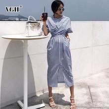 VGH Summer Women Short Sleeve Streetwear Dress O Neck Striped Straight Bandage B