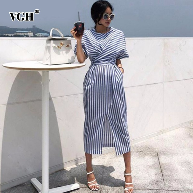 VGH Summer Women Short Sleeve Streetwear Dress O Neck Striped Straight Bandage Bow Women 's Fashion Clothing 2019 New Tide