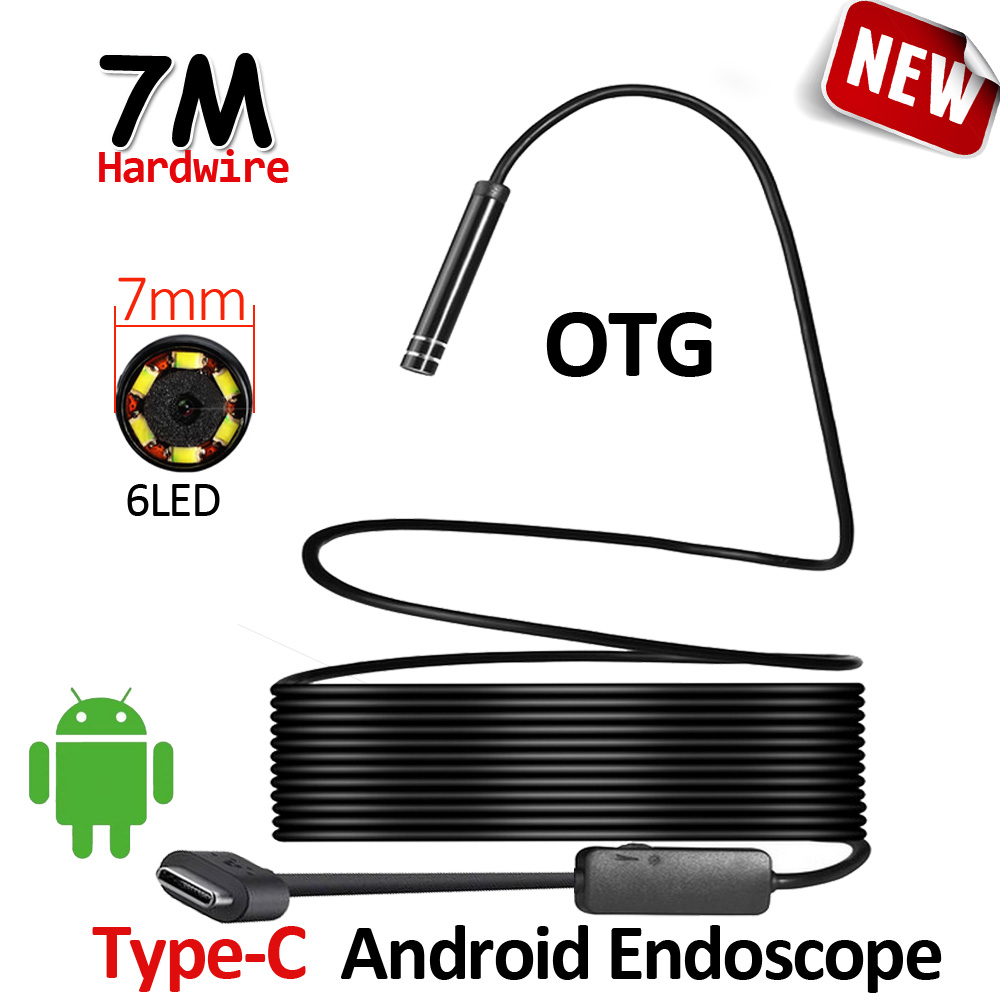7mm USB Type C Android Endoscope Camera Flexible Hard Wire Waterproof Inspection Snake USB Type C Android Phone Camera Borescope 7mm lens mini usb android endoscope camera waterproof snake tube 2m inspection micro usb borescope android phone endoskop camera