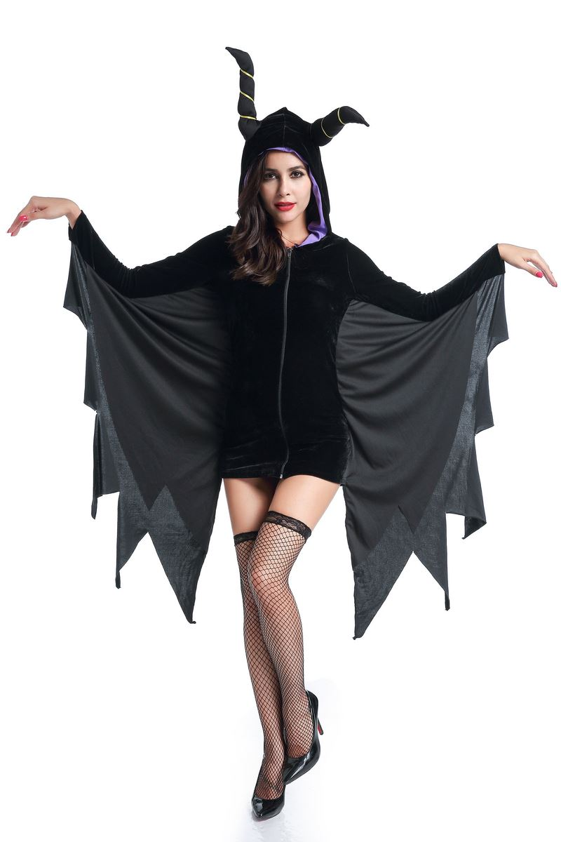 Sleeping Beauty Curse Witchcraft Cosplay Costume Halloween Women Adult Sexy Black Vampire Female Party Fancy Hooded Dress
