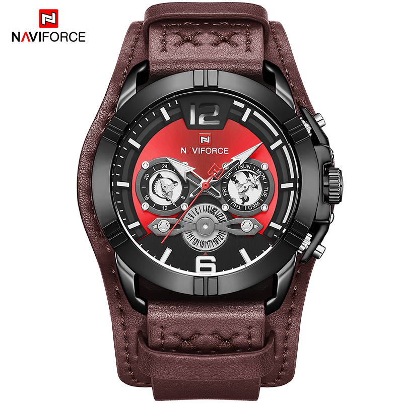NAVIFORCE Mens Watch Fashion Sport Leather Quartz Wristwatches Men Luxury Top Brand Waterproof Male Clock Relogio Masculino 2020