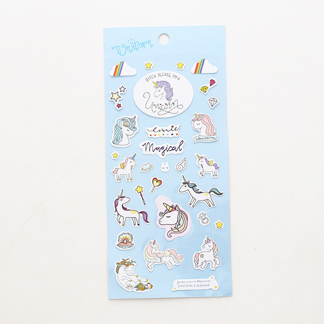Cute Unicorn Design Stationery Stickers Set