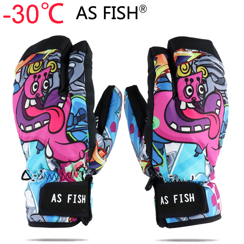 Professional Snowboard Ski Gloves Men Women 3 Finger Mittens Winter -30 Skiing Snowmobile Windstopper Snow Handschoemen Monster