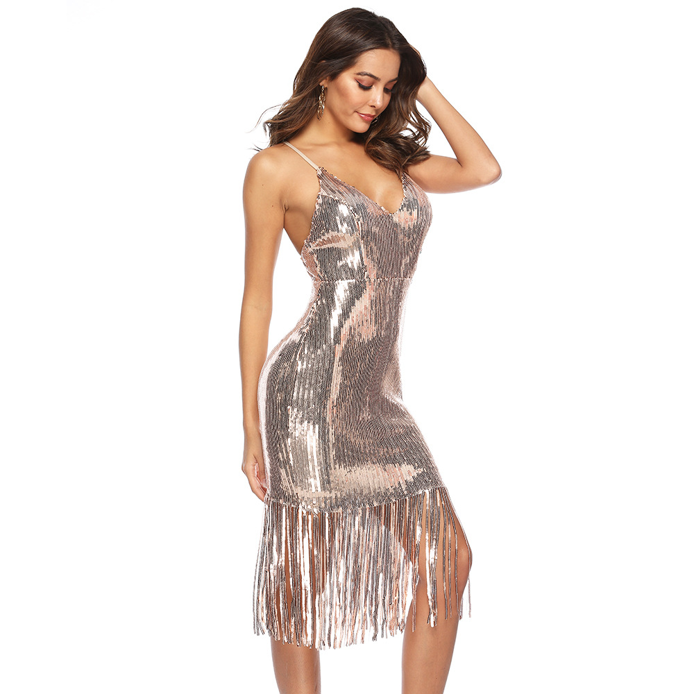 Sexy Bling tassel Sequins summer dress wome luxury Night club Backless Party dress elegant bodycon vintage dresses vestidos 2019 in Dresses from Women 39 s Clothing