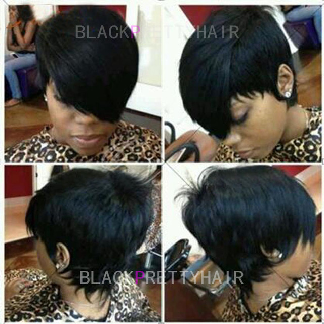 Cheap Human Brazilian Hair Layered Pixie Cut Wig Long Bangs Short