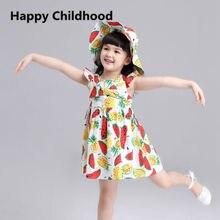 2016 D'été mignon pastèque fille robe 1 pc pétale manches filles vêtements 3-12Y enfants robes pour les filles avec le chapeau