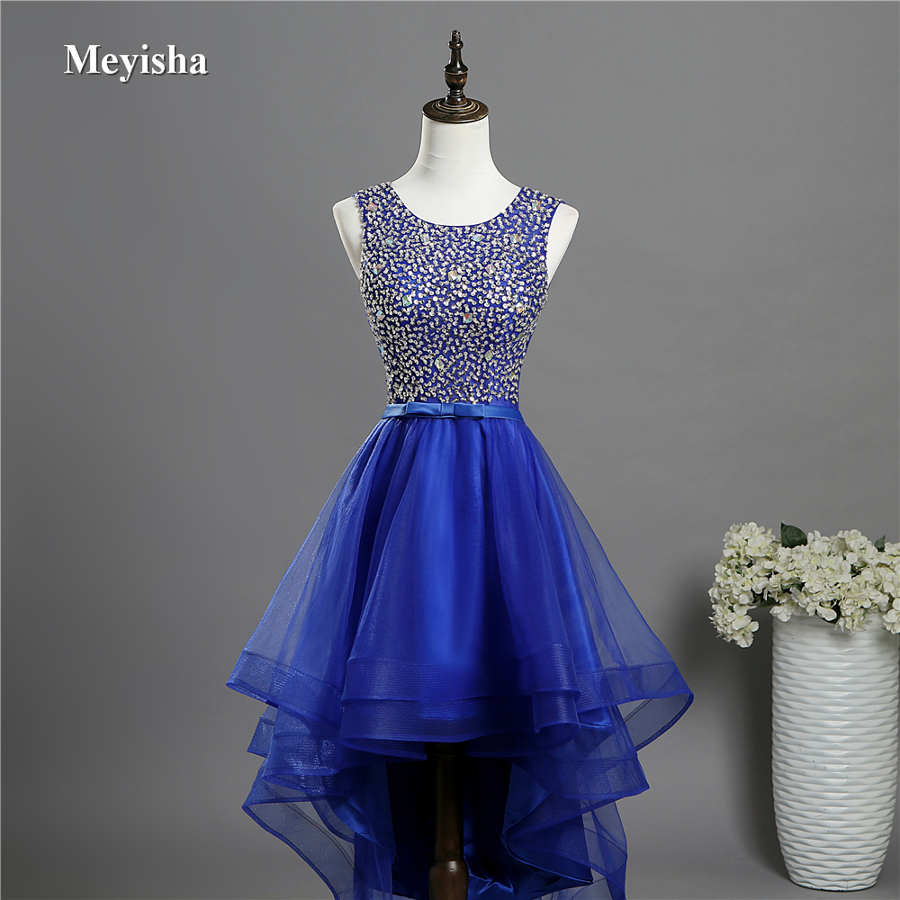 15a37fcb4be ZJ7028 High Low Open Back Prom Dresses O Neck Beads Crystal Evening ...