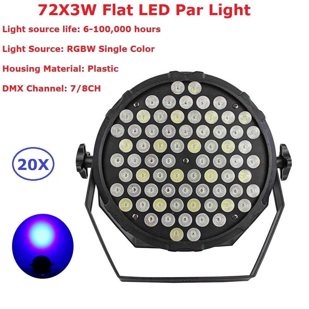 20X Carton Package 180W Flat LED Par Can 72X3W RGBW DJ Disco DMX Stage Lights Laser Beam Projector Lumiere Controller Equipments 10x dj disco par led 9x10w rgbw stage light dmx strobe flat luces discoteca party lights laser luz projector lumiere controller
