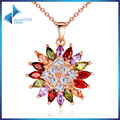 High Quality Real Rose Gold Plated Necklaces Pendants with AAA Multicolor CZ For Women Wedding