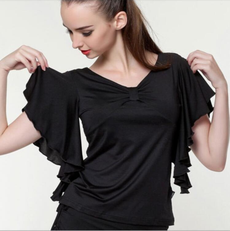Ballroom Dance Top Flamenco Blouse Standard Modern Dancer Costume Performance Outfits Waltz Dancewear Short Sleeves 7 Colors