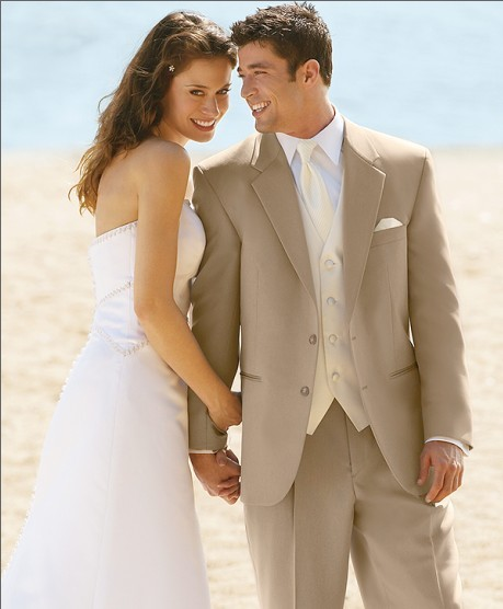 Custom Made Groom Tuxedo Khaki Groomsmen Notch Lapel Wedding/Dinner Suits Best Man Bridegroom (Jacket+Pants+Tie+Vest)<font><b>B</b></font> <font><b>180</b></font> image