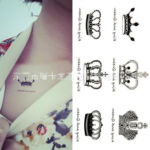 Women Small Cute Queen King Crown Hot Sexy Flash Tattoo Sticker