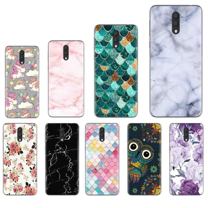 جراب هاتف لين ملون ملون لهاتف ألكاتيل 1X (2019) بدون إصدار بصمة الأصبع غطاء لين من السيليكون المطاطي المطلي بالألوان