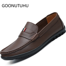 2019 new men's shoes casual leather loafers man classic brown black slip on shoe male light flat driving shoes for men hot sale zyyzym men casual shoes pu leather fashion trend light flat driving loafers shoes for man hot sales