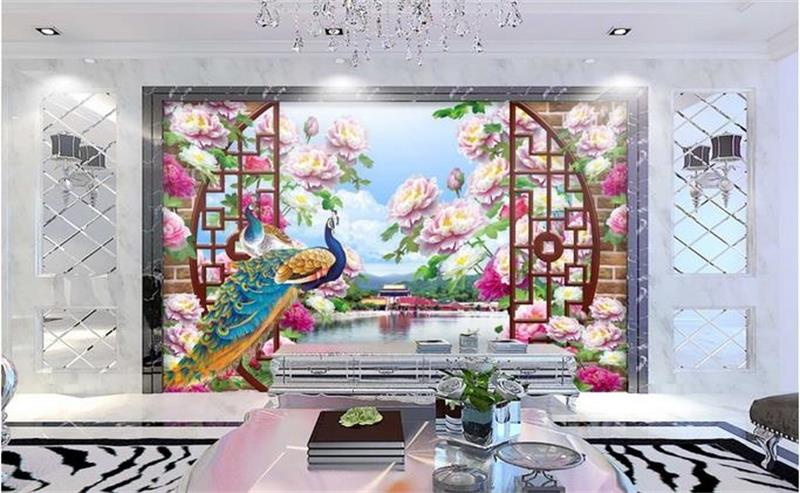 Compare prices on peacock wall mural online shopping buy for Bird mural wallpaper
