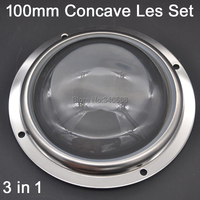100mm Concave Optical Glass High Power LED Lens With Protective Silicone Ring Fixing Bracket 3 In