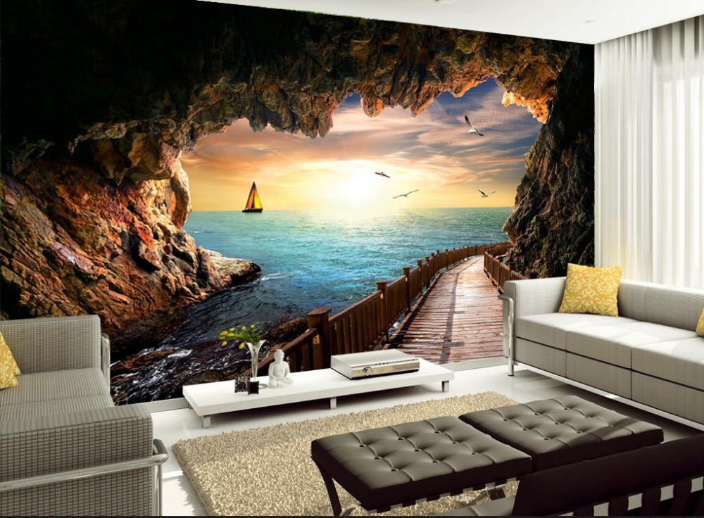 Custom 3d Photo Wallpaper 3d Wall Murals Wallpaper Hd: Custom 3d Wallpaper Seascape Sunset Beautiful Scenic Cave