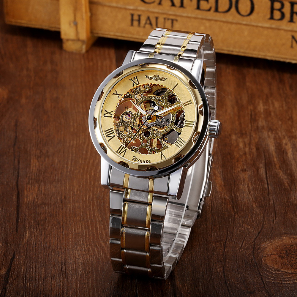 Top Brand Luxury New fashion Men Hollow Skeleton Automatic Mechanical Stainless Steel Wrist Watch Clock Reloj A1 2017 new fashion men mechanical watch binger golden top brand luxury steel automatic classic skeleton wristwatch best gift
