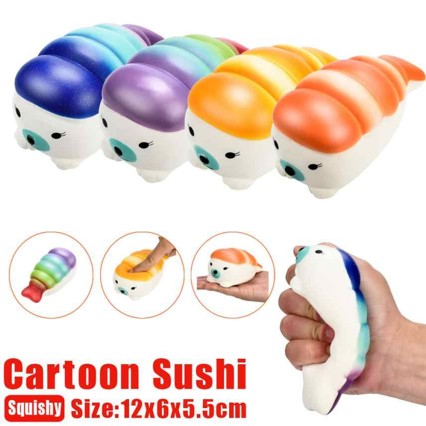 12cm Jumbo Cartoon Sushi  Squishy Charms Milk Bag Toy Slow Rising for Children Adults Relieves Stress Anxiety Cabinet Decor 30#