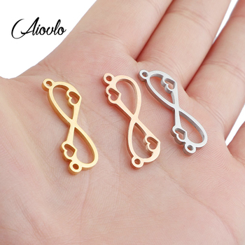 5pcs/lot Stainless Steel Love Infinite Hollow Bracelet Connectors Necklace Charms Pendant DIY Jewelry Making Wholesale Lots Bulk