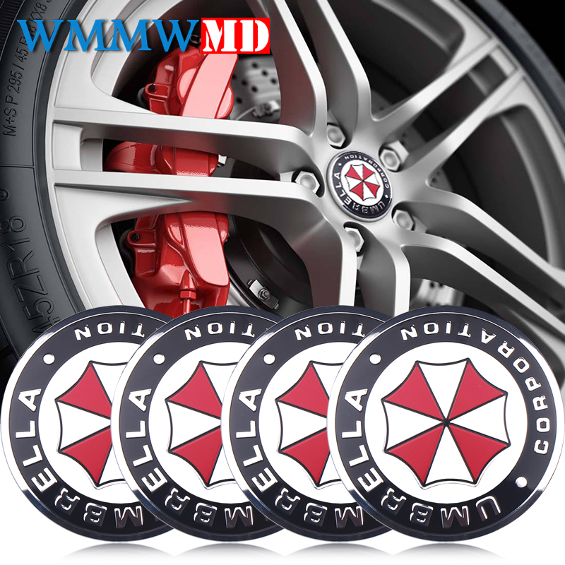 4Pcs Car Styling 56mm UMBRELLA CORPORATION Logo Car Emblem Wheel Center Hub Cap Rim Badge Decoration Covers Sticker