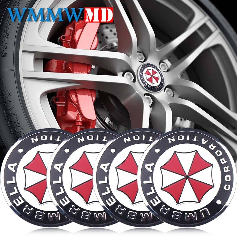 4Pcs Car Styling 56mm UMBRELLA CORPORATION Logo Car Emblem Wheel Center Hub Cap Rim Badge Decoration Covers Sticker