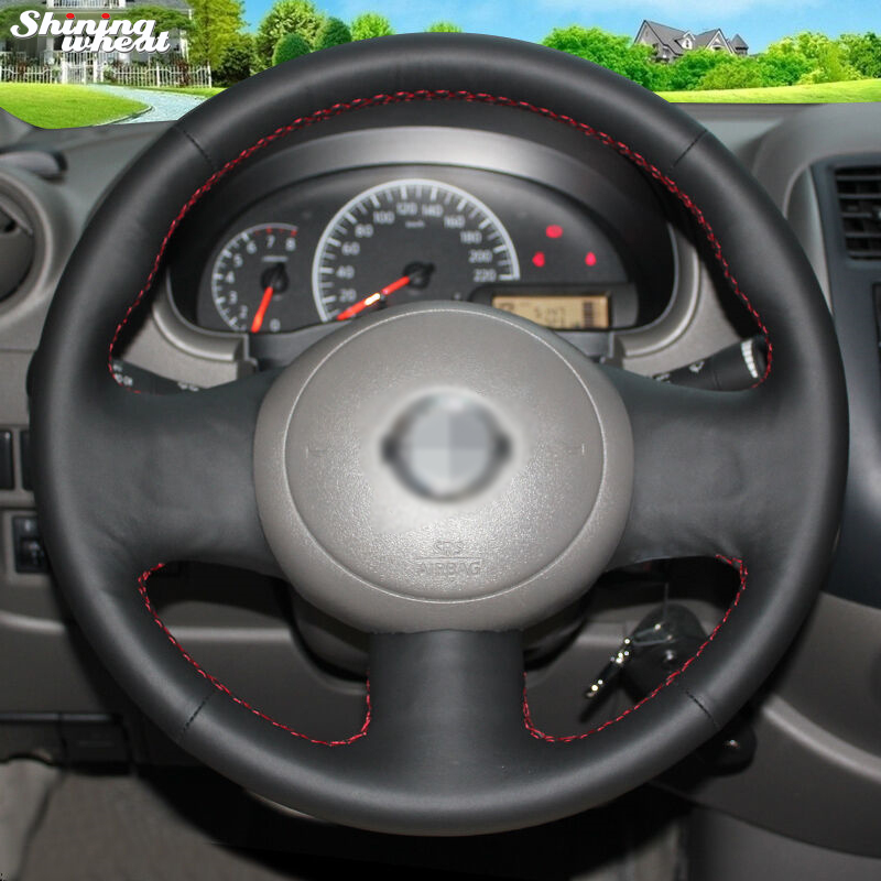 Shining wheat Hand-stitched Black Leather Car Steering Wheel Cover for Nissan March Sunny Versa 2013 Almera