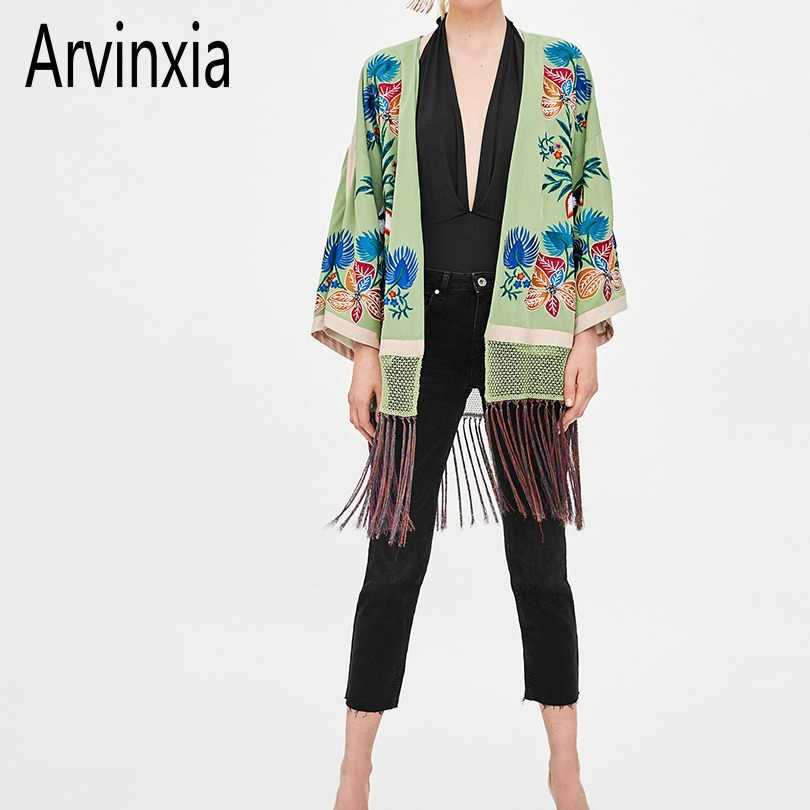 Arvinxia ZA Vintage Floral Embroidery Blusas Ethnic Kimono Style Tassel Long Woman Blouse National Open Front V Neck Lady Shirts