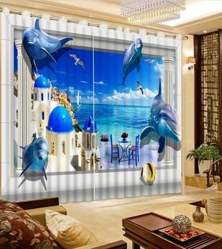 High quality custom 3d curtain fabric ocean dolphi curtains