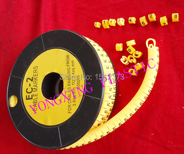 10roll/lot EC-2 4MM2 0-9 number each number 1 roll 500PCS/roll 16roll lot cirlce cable marker ec 3 6 square meter yellow color x y z s each 4 roll