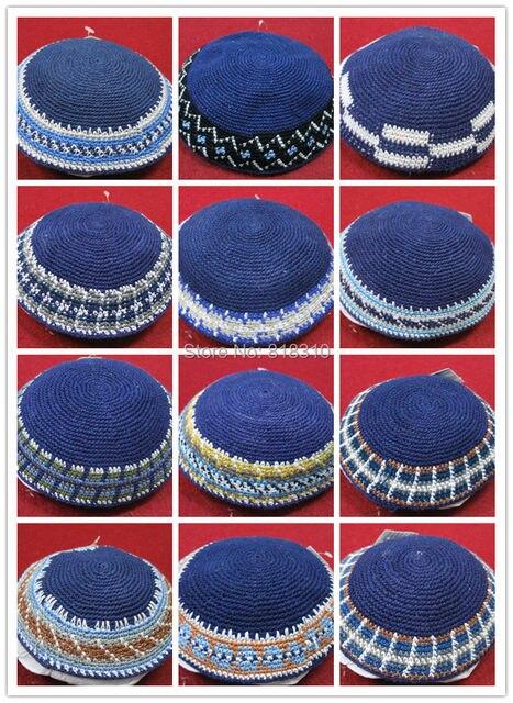 Online Shop High Quality Handmade Knitted Yarmulke Kippah Blue Top