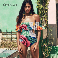 Seven Joe Sexy Retro Cloak Floral Printing Women Swimwear One Piece Suits Bandage Bikinis Set Bathing Suit one piece swimsuit
