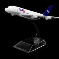 1:400 16 cm Fedex Airbus 380 Escritório Decoração Dom Idéia Brinquedo de Metal Modelo de Avião